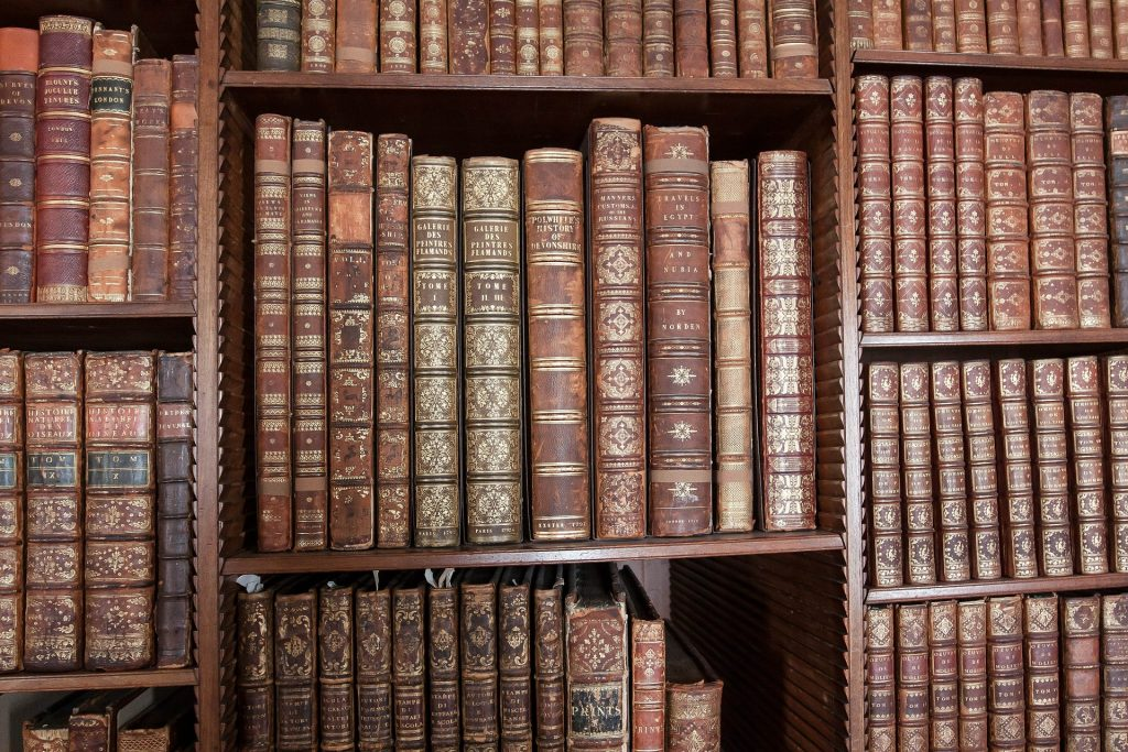 Stock Image of some old books on some shelves